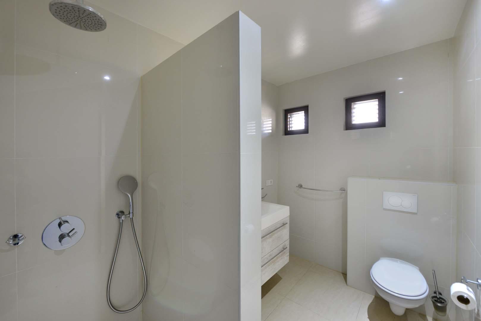 Badkamer met inloopdouche met rainshower, dubbele wastafel en toilet